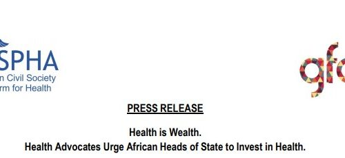Press Release – Health Advocates Urge African Heads of State to Invest in Health