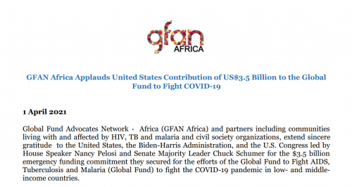 GFAN Africa Applauds United States Contribution of US$3.5 Billion to the Global Fund to Fight COVID-19