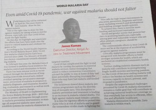 Even amid Covid-19 pandemic, war against malaria should not falter